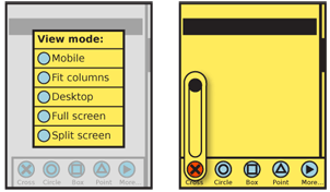 Additional menu options, or long lists of subsidiary options generally are displayed in modal dialogues as on the left. Simple options, or single interactive elements, may simply reveal themselves as controls sliding off of the main menu bar, as the slider is to the right.