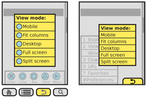 Sub-menus or additional options can be displayed from any menu scheme. Icon menus, such as gesture menus or the icon bar menu on the left, usually should open a separate vertical dialogue. Softkey type menus, on the right, usually display them adjacent to or overlapping the main menu.